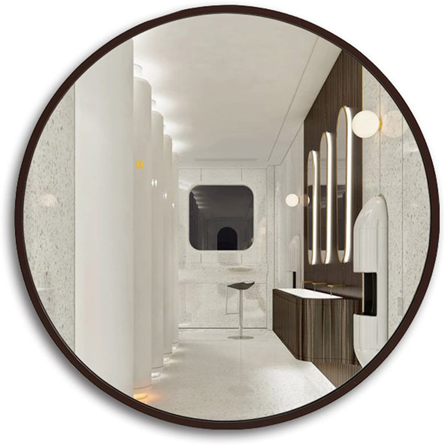 ZHBWJSH Bathroom Mirrors Makeup Mirrors Wall Mirrors Large Round Mirrors Decorative Mirrors, Available in Three Sizes (Brown, White, Black, Wood) (color   Brown, Size   70  70 cm)