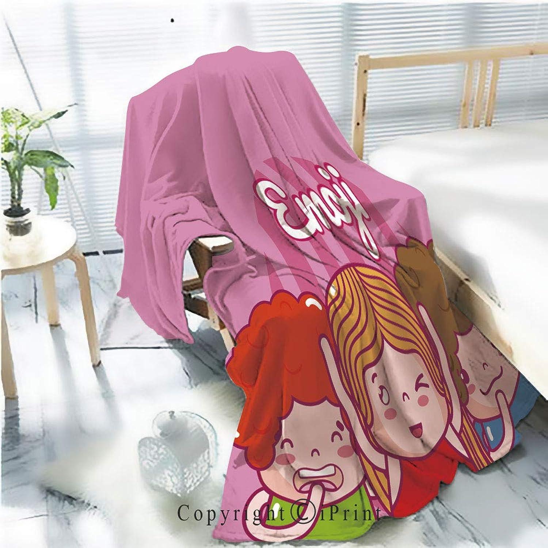 Printed Soft Blanket Premium Blanket,Cute Kids Emojis Microfiber Aqua Blanket for Couch Bed Living Room,W59.1 xH78.7