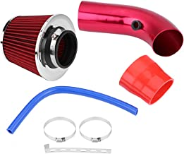 Acouto 76mm 3Inch Universal Car Cold Air Intake Hose Filter System with Air Intake Aluminum Pipe,Mounting Bracket,Tube Horse,Lock Rings(Red)