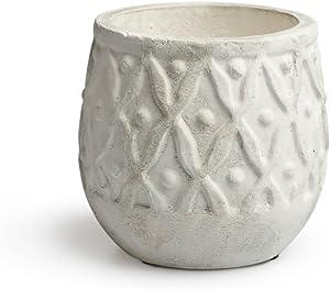 Black Velvet Studio Pot Corfú Terre Cuite, Color Gris Blanchi. Son Relief géométrique apporte la personnalité à Votre Chambre 14x14x14 cm.