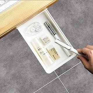Under Desk Drawer, Pencil Drawer Tray, Office Storage Organizer, Self-Adhesive Hidden Desk Storage with Smooth Sliding Tra...