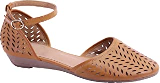 Womens Roman Ankle Strap Cage Closed Toe Flat Sandals