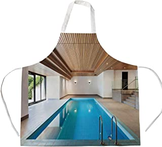 House Decor 3D Printed Cotton Linen Apron,Apartment with Indoor Pool Wooden Ceiling Private Resident Stylish Home Perspective,for Cooking Baking Gardening,