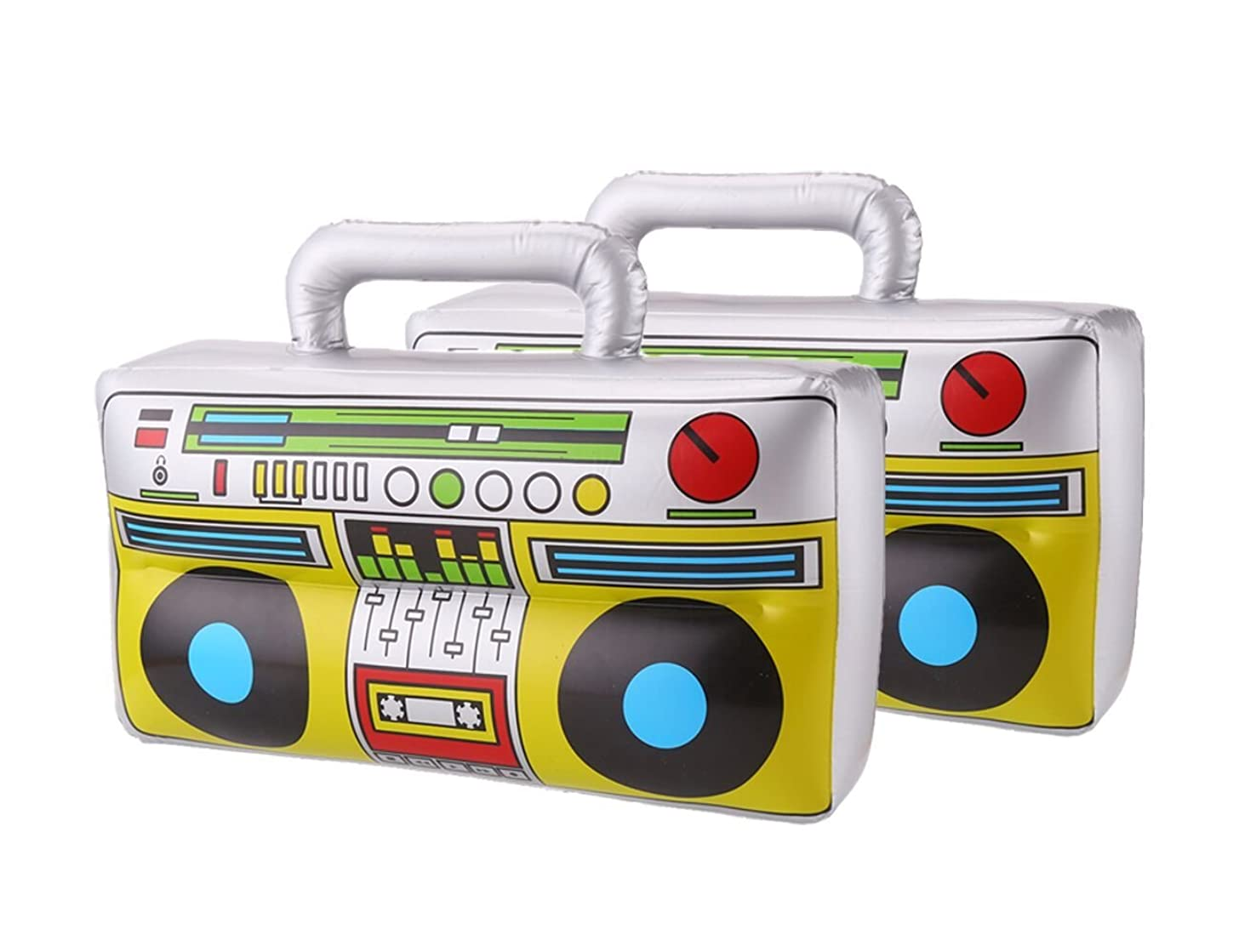 DECORA 16 inch Novelty Inflatable Boombox for 80s 90s Party Decoration, Silver, Pack of 2