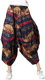Fiere Women's Plus Size Linen With Pocket Colorful Print Comfy Yoga Palazzo Pants