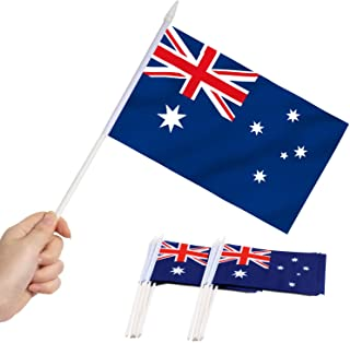 """Australia Stick Flag, ANLEY Australian 5x8 inch Handheld Mini Flag with 12"""" White Solid Pole - Vivid Color and Fade Resist..."""
