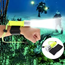 Portable Lightweight 500 Lumens Diving Flashlight Underwater, 50M Torch 18650 Rechargeable LED Light Lamp for Diving Photo...