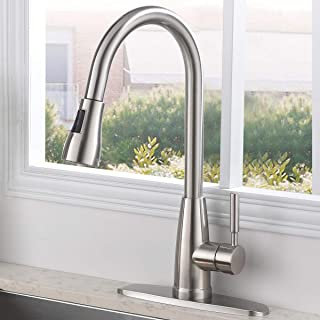SHACO Stainless Steel Pull Down Sprayer Kitchen Faucet, Kitchen Sink Faucet With Deck Plate