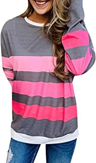 Sceoyche Womens Casual Stripe Tops Shirt Long Sleeve O Neck Loose T-shirt Blouse Tee Top