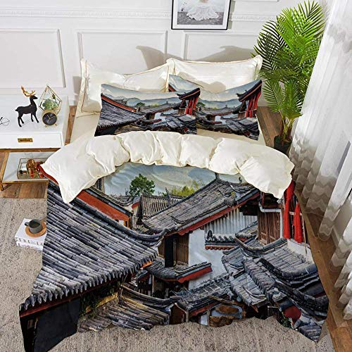 Ancient China Decorations,Roofs of Houses Ancient Chinese Tiles Scenic View Touristic T,Hypoallergenic Microfibre Duvet Cover Set 200 x 200cm with 2 Pillowcase 50 X 80cm
