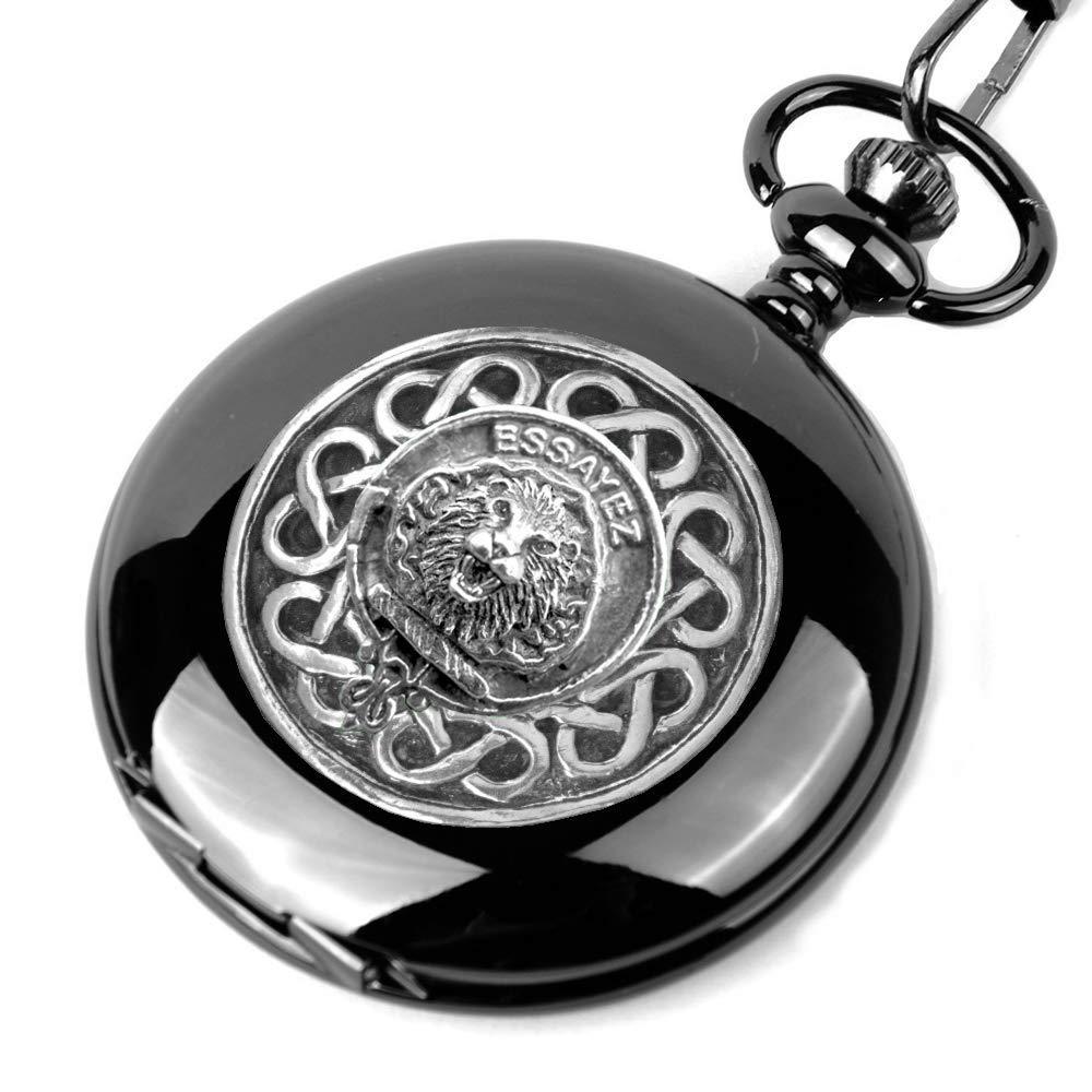 Dundas Scottish Silver Popular overseas Clan Black Pocket Watch New sales Crest