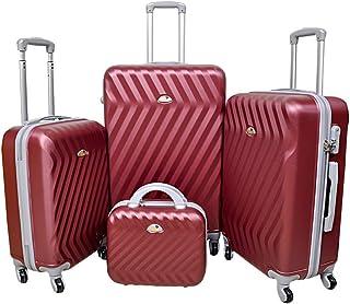 نيو ترافل طقم حقائب سفر بعجلات, 4 قطع مع 4 عجلات - كرزي