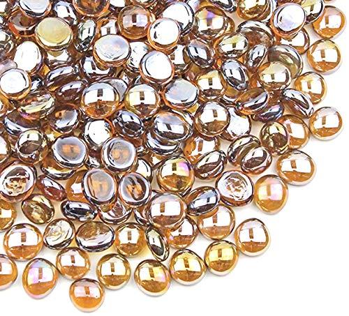 Vase Filler Gems,Glass Flat Marbles, 5 LB-Approx 500 Stones,Amber Luster,Party Table Scatter, Wedding Centerpieces Decor, Aquarium Pebbles,Stone Gem for Centerpieces, Decorative Glass Beads
