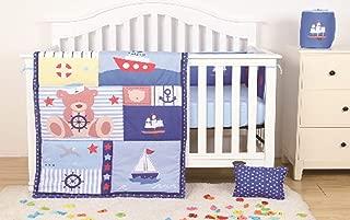 Sapphire Home 4 Piece Crib Bedding Set for Baby Boys/Girls, Crib Comforter/Bumper/Fitted Sheet/Pillow, Sailor Boat Design Blue Crib Bedding