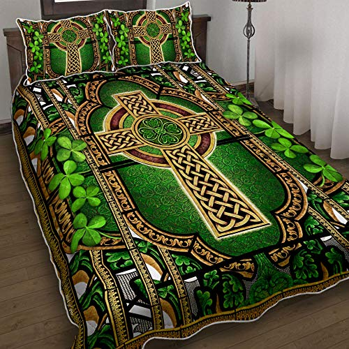BOTAWOE Irish Celtic Knot Quilt Bed Set Bedding Set 3 Pieces Quilt Cover with Pillowcase Cover Soft Comfortable for Kids Parents Us Twin Queen King Size