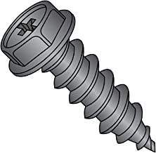 "Steel Sheet Metal Screw, Black Oxide Finish, Hex Washer Head, Phillips Drive, Type A, 10-12 Thread Size, 1"" Length (Pack of 100)"