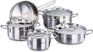 Korkmaz C-MX-A1660 Stainless Steel Alfa Cookware 9 Piece Set, Silver