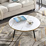 Urraca Round Coffee Table for Living Room or Office, White Marble Accent Table with Gold Rim Decoration, 31.5' D x18.5 H