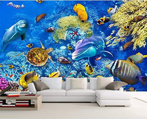XZCWWH Benutzerdefinierte Mural 3D Raumtapete Sea World Fish Tapeten Wohnkultur Gemälde 3D Wandbilder Wallpaper,90cm(W)×50cm(H)