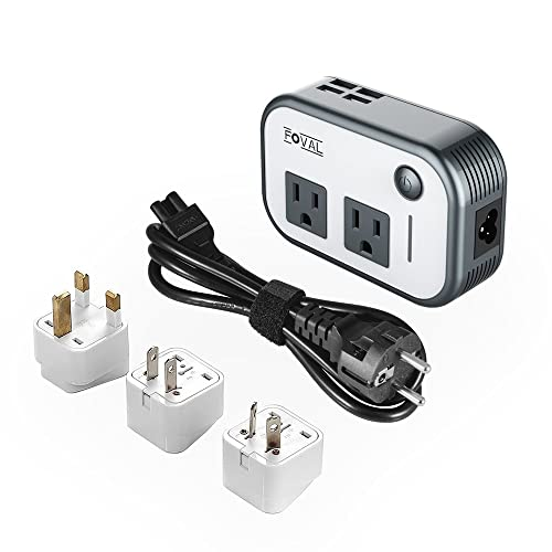 Foval Power Step Down 220V to 110V Voltage Converter with 4-Port USB International Travel