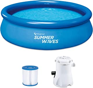 Summer Waves P1001030A156 Quick Set 10ft x 30in Inflatable Ring Round Above Ground Swimming Pool Set with Filter Pump and Type 1 Filter Cartridge