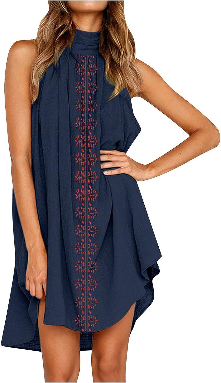 SHILONG 2021 Women's Summer Sleeveless Halter Dress, Gifts for Women Mom Friends