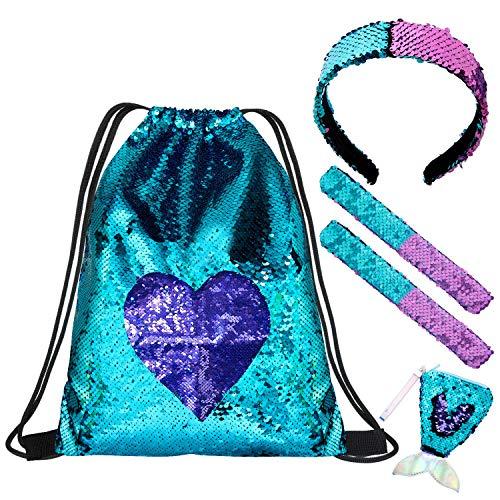 Comius Sharp Bolso de Lentejuelas Sirena 5 Pcs Mochila de Lentejuelas Bolsa Mermaid Reversible Lentejuelas Drawstring Mochila Brillante Bolsa de Hombro al Aire Libre para Niñas, Mujeres y Niños