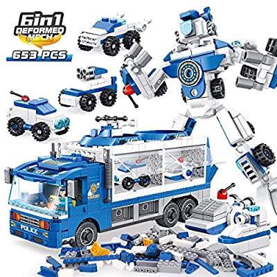PANLOS STEM Robot Educational Learning Building Bricks Toy Carrier Truck Set Vehicles Gifts for Kids Boys and Girls Tight Fit and Compatible with All Major Brands (Blue)