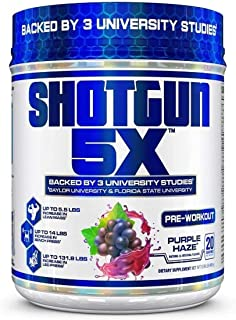 VPX Shotgun 5X Pre Workout Supplement for Men -Preworkout Energy Powder - Purple Haze Flavor - 20 Servings