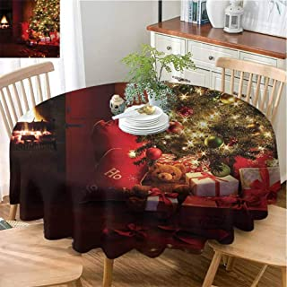 Camerofn Striped Tablecloth Christmas Tablecloth Bulk Xmas Scene with Decorated Luminous Tree and Gifts by The Fireplace Artful Image Diameter 51