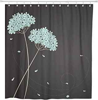 ArtSocket Shower Curtain Brown Vintage Blue Flowers and Place Hydrangea Floral Cute Home Bathroom Decor Polyester Fabric Waterproof 72 x 72 Inches Set with Hooks