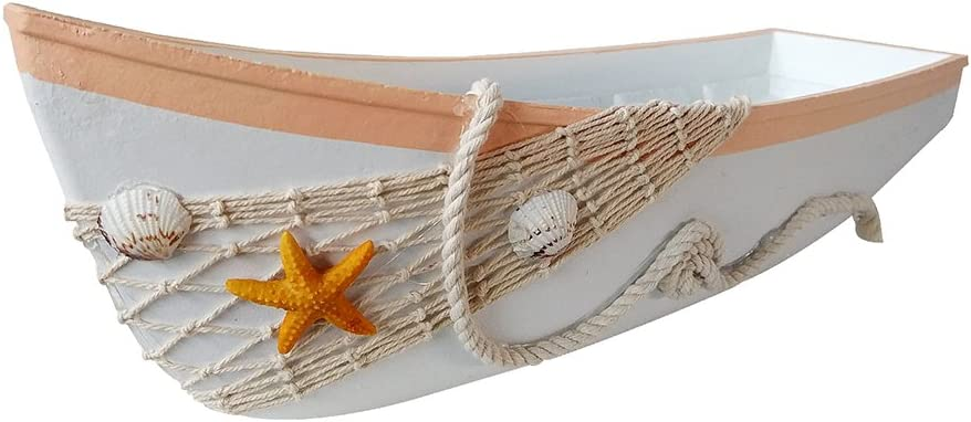 Beach Theme Display Boat Tray with Star Fish Sea Shell and Fish Net, 17''L, White Wooden Nautical Boat Decor, Miniature Boat Model, Decorative Boat