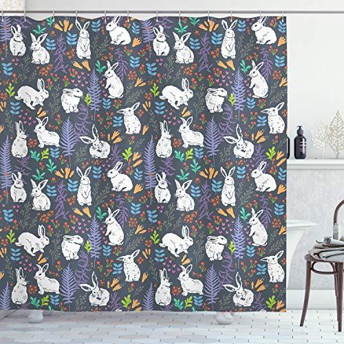 Lunarable Kaninchen-Duschvorhang, weiße Häschen unter Blättern, Ästen, Blumen & Karotten, pastellfarbene Illustration, Stoff-Badezimmerdekor-Set mit Haken, 178 cm, mehrfarbig