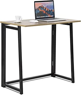 Tangkula Small Foldable Computer Desk, Home Office Laptop Table Writing Desk, Compact Study Reading Table for Small Space, No Assembly Folding Desk (Natural)