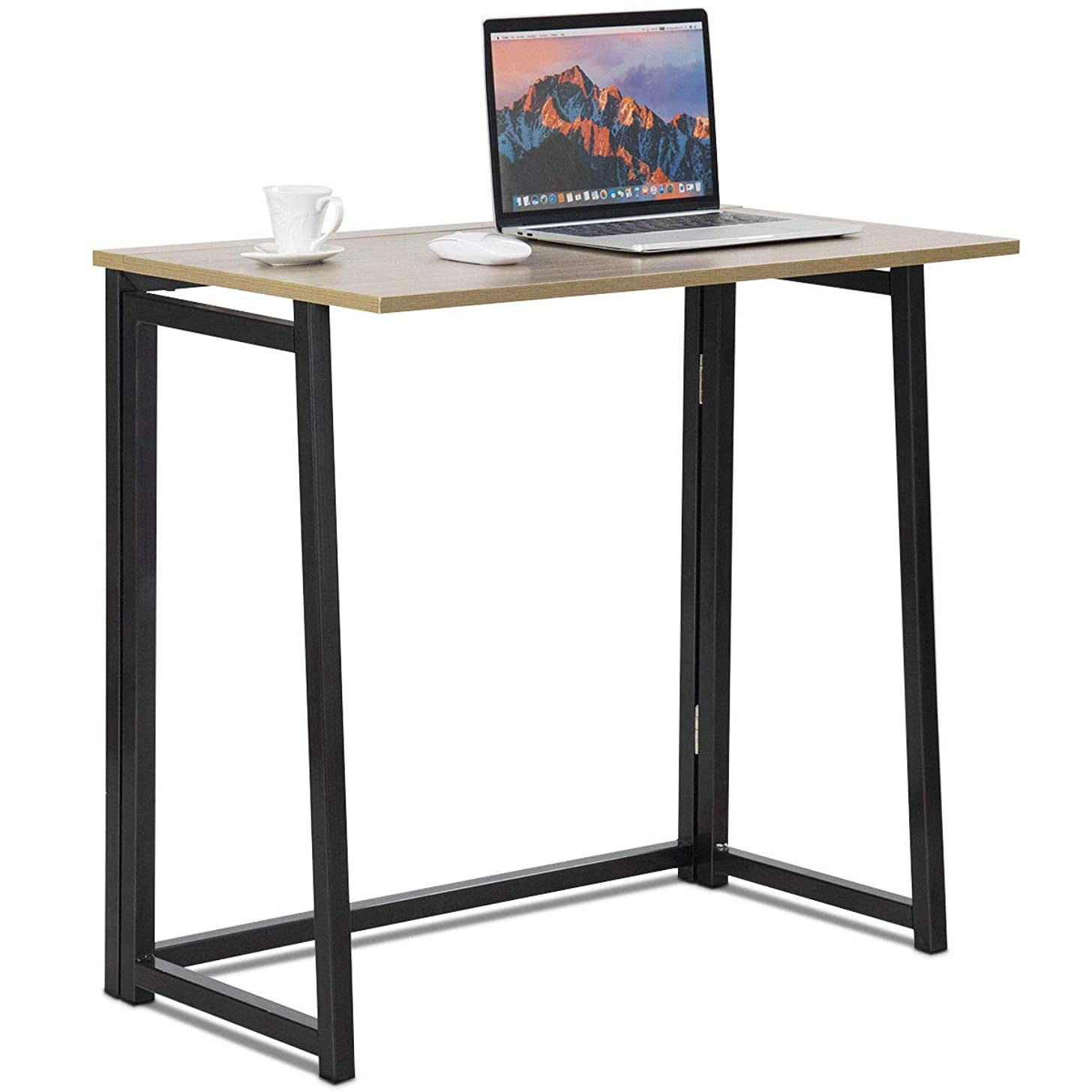Tangkula Folding Table, Small Foldable Computer Desk, Home Office Laptop Table Writing Desk, Compact Study Reading Table for Small Space, Space Saving Office Table (Natural)