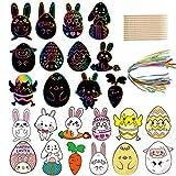 MOOKLIN ROAM 60 Pezzi Grattare Art Carta, Carta Gratta e Vinci di Pasqua Arcobaleno, Pasqua della Decorazione Dell'uovo della Carota del Coniglio Migliori Regali per I Bambini