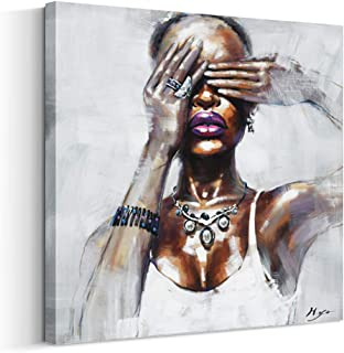 Artinme Framed African American Black Art Dancing Black Women in Dress Wall Art Painting on Canvas Print Wall Picture for Home Accent Living Room Wall Decor (24 x 24 inch, I)