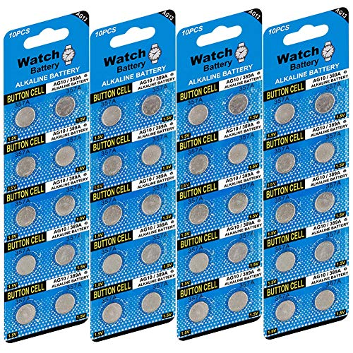 40 Pack LR44 AG13 357 303 SR44 1.5V Battery JOOBEF Alkaline Battery Button Cell for Laser Pointer Toy