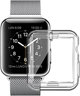 Full TPU Clear Case Tech Express Apple Watch Series 1, 2 & 3 W/Screen Protector Built in Corner Protection Bumper Slim Skin [iWatch Cover] Protective Case Shockproof Thin Accessories (38mm)