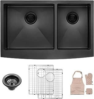 LORDEAR LA3321R2-64 33 inch Black Farmhouse Apron 60/40 Deep Double Bowl 16 gauge Stainless Steel Kitchen Sink
