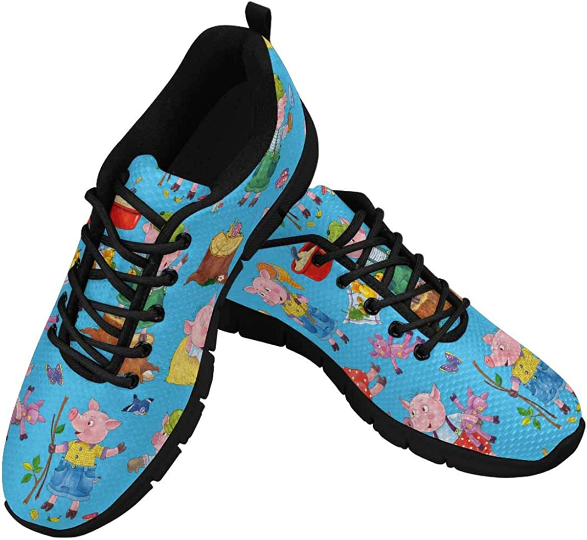 INTERESTPRINT Three Little Pigs. Fairy Tale Women's Athletic Walking Shoes Comfort Mesh Non Slip