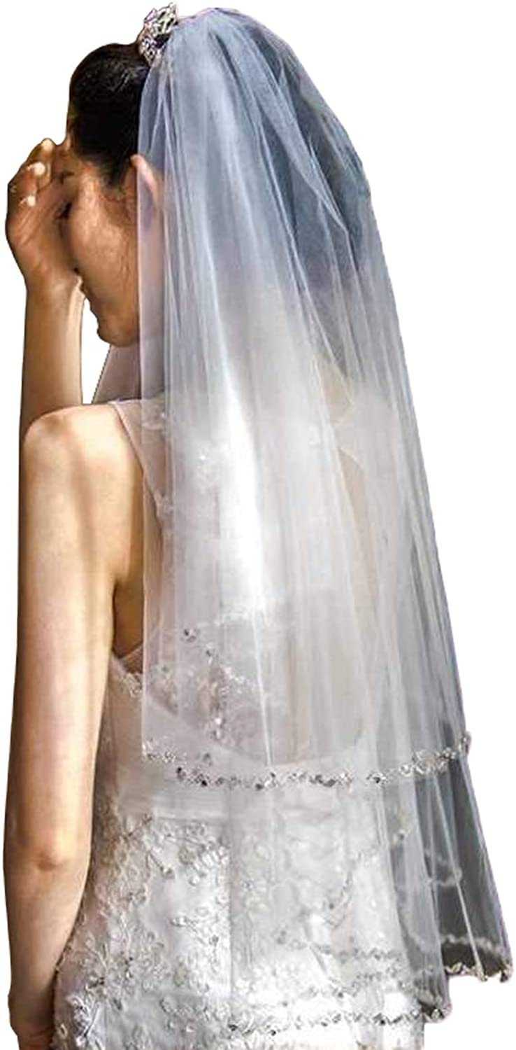 Fenghuavip Short 2t Crystal Bridal Veils for Wedding with Beads Stars free Comb