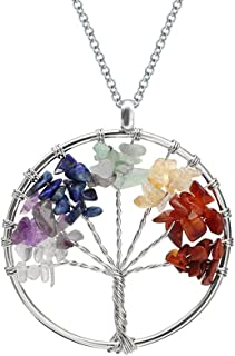 Tree of Life Necklace, Morenitor Natural Crystal Colorful Tumbled Stone Lanyard Necklace with Snake Chain Copper Gemstone Pendant Jewelry Gifts for Women