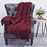 Home Soft Things Cable Knitted Throw Blankets 50'' x 60'', Burgundy, Soft Cozy Fluffy Decorative Throw with Tassels Couch Bed Sofa Cover Throw Blankets