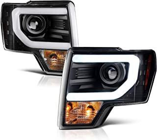 [For 2013-2014 Ford F-150 Pickup Truck Xenon HID Model] OLED Neon Tube Black Projector Headlight Headlamp Assembly, Driver & Passenger Side