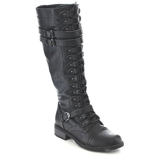 36cbcb142b1fc Lace Up Flat Boots: Amazon.com