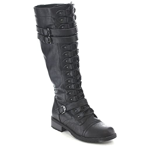 3421a7e6fe584 Lace Up Flat Boots: Amazon.com
