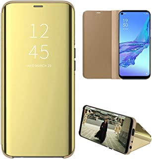 OPPO A53 Case, EabHulie Mirror Plating Hard PC +PU Leather Semi-transparent Standing View Case Cover for OPPO A53 Gold