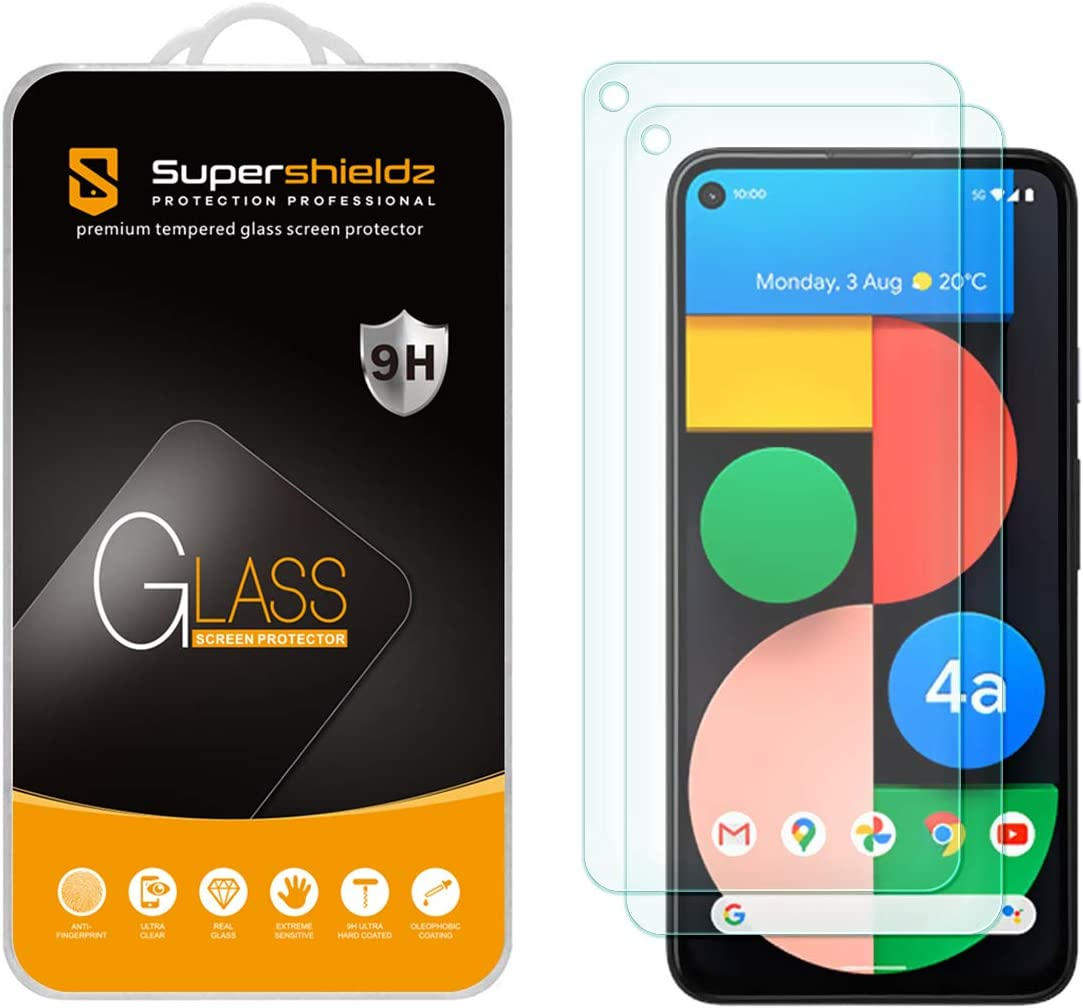 (2 Pack) Supershieldz Designed for Google Pixel 4a (5G) 6.2-inch/Pixel 4a 5G UW [Not Fit for Pixel 4a 5.8-inch] Tempered Glass Screen Protector, 0.33mm, Anti Scratch, Bubble Free
