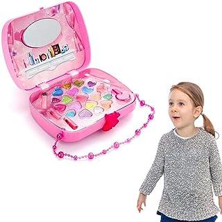 KOBWA Children's Toys Little Girl Washable Makeup Kit with Mirror,Non-Toxic Princess Makeup Eyeshadow Palette Lipstick Birthday Gift Box Girl Toys